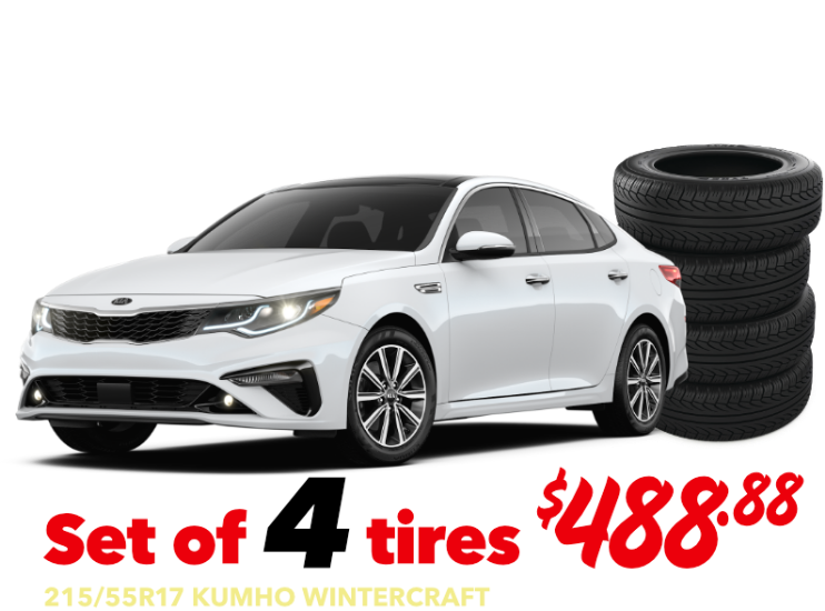 Set of 4 tires - Optima - 215/55R17 KUMHO WINTERCRAFT - $488.88 Installed