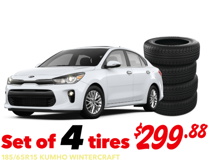 Set of 4 tires - Rio - 185/65R15 KUMHO WINTERCRAFT - $299.88 Installed