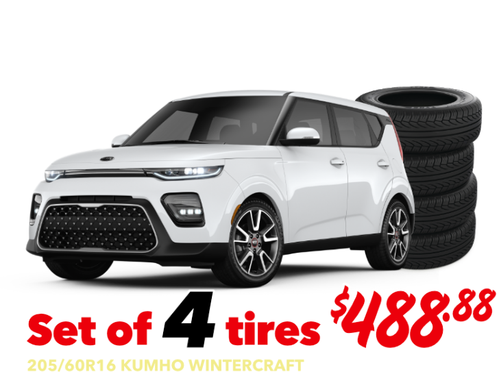 Set of 4 tires - Soul & Niro - 205/60R16 KUMHO WINTERCRAFT - $488.88 Installed