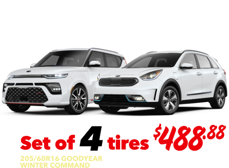 Set of 4 tires - Soul & Niro - 205/60R16 GOODYEAR WINTER COMMAND - $488.88 Installed