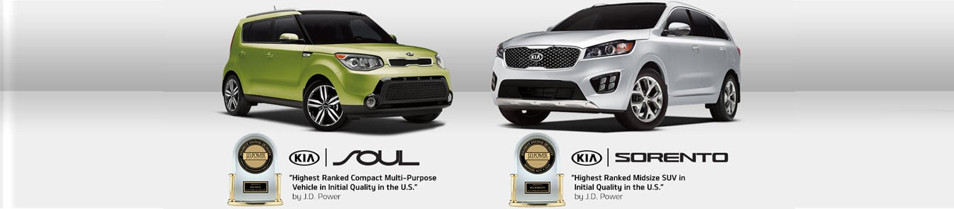 "Kia Soul. "" Highest ranked compact multi-purpose vehicle in initial quality in the US"" Kia Sorento. ""Highest Ranked Midsive SUV in initial quality in the US."