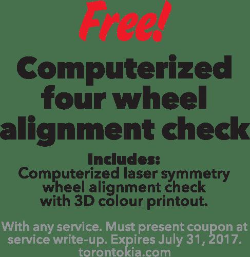 Computerized four wheel alignment check