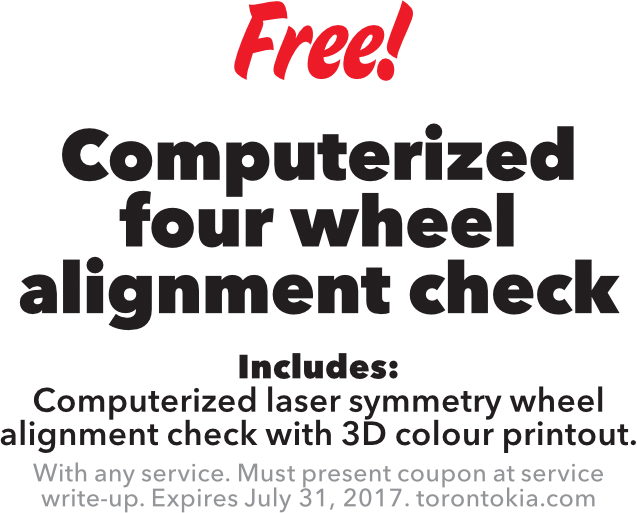 Free Computerized four wheel alignment check
