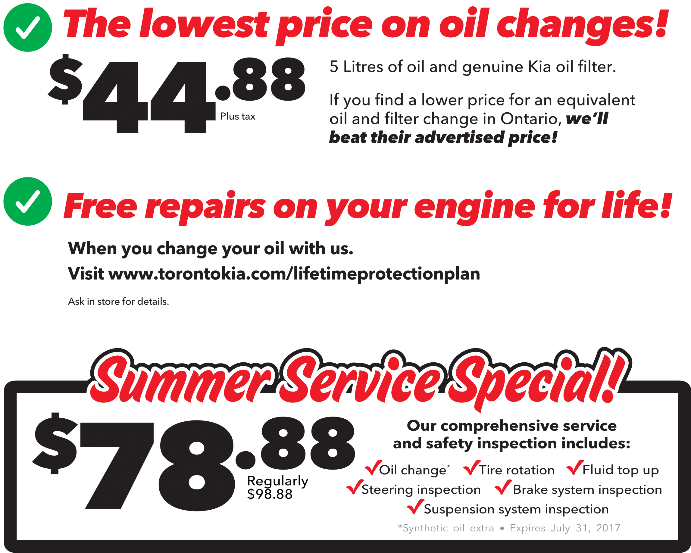 Guaranteed lowest price on oil changes