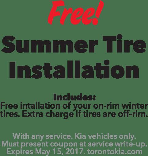 Free summer tire installation